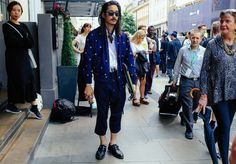 Mens Wear 17 Fashion Week advice: wear cropped flaires, a printed bomber jacket and a crisp white shirt and - of course - have random women roll their eyes at you