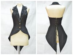 For Sale On ---->Here Black Tailcoat Style Gothic Waistcoat for Women Mode Rock, Fantasy Dress, Cosplay Outfits, Character Outfits, Mode Outfits, Kawaii Clothes, Steampunk Fashion, Lolita Fashion, Costume Design