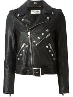 Revamp your look with the edgy women's designer motorcycle jackets edit at Farfetch now. Find leather biker jackets from world-renowned labels. Lambskin Leather Jacket, Leather Blazer, Riders Jacket, Moto Jacket, Motorcycle Jacket, Saint Laurent, Studded Jacket, Straight Jacket, Celebrity Outfits