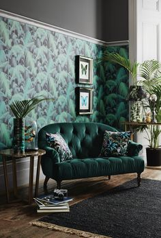 The finished room living room interior, art deco interior bedroom, Salon Art Deco, Art Deco Home, Art Deco Style, Art Deco Decor, Wall Decor, Wall Mural, Green Interior Design, Interior Design Inspiration, Interior Colors