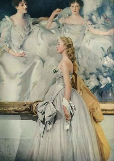 """Vogue December 1950  """"Miss Mary Drage is 19 years old and is dancing with the Sadler's Wells Ballet company. She wears a full-length ball dress with grey clouds of rayon net and swooped about with grey rayon taffeta, by Rappi."""" oh my, its so beautiful"""