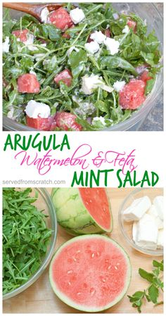 The perfect summer salad of Arugula, Watermelon, and Homemade Feta Cheese with a bright citrus vinaigrette