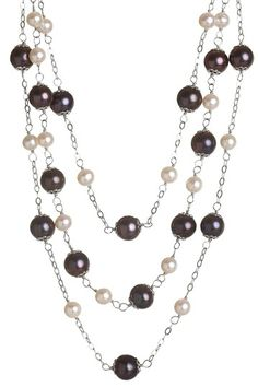 Multi-Size and Multicolor Freshwater Pearl Triple Strand Necklace