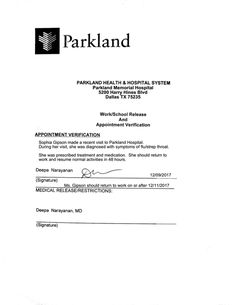 We make you a hospital release note from Parkland Medical Center or the hospital of your choice. Comes complete with dates and description of visit, expected date to return to work, and doctor's signature. Certificate Format, Free Certificate Templates, Templates Printable Free, Emergency Hospital, Hospital Doctor, Doctors Note Template, Notes Template, Dr Note For Work, Parkland Hospital