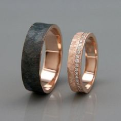 His and Hers Wedding Ring Set |14k Rose Gold Wedding Band Set with Dimoands in Rough Faceted style | #weddingringsdesign