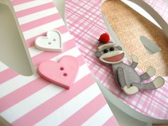 Custom Decorated Wooden Letters PINK SOCK MONKEY by LetterLuxe. $10.00 USD, via Etsy.