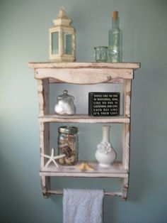 Wooden Shelf - Towel Holder - Beach Decor - Shabby, Paris Apartment on Etsy, $130.00