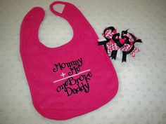 Hot Pink Baby Girl Mommy Plus Me Equals One Broke Daddy & Chevron Bow by grinsandgigglesbaby1, $12.99
