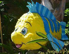 Yellow And Blue Flounder Pinata Hand Made Custom Flounder Pinata Little Mermaid Inspired birthday Pinata Fish Pinata decoration Pinata