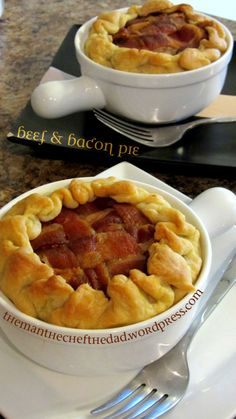 "- Beef & Bacon Pie - This is made from ""scratch"".  (Ya'll  have any?) -"