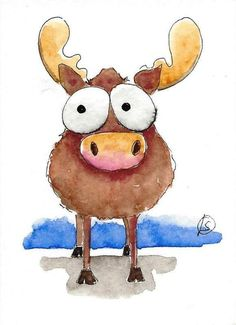 ACEO Original watercolor art painting Lucia Stewart whimsical animal moose…