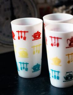 Hazel atlas milk glass tumblers.