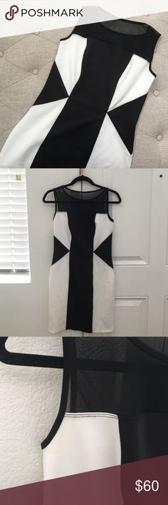B&W Dress Beautiful black and white (b&w) dress perfect for the transition from a long day of work to a dinner date! Size 4P. Bought from a boutique. There's a slight discoloration near the armpits region otherwise great condition. Bundle to save; offers considered. Enfocus Petite Dresses
