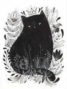 Black cat drawing, black cat painting, black cat art, black cats, cat i Art And Illustration, Illustration Inspiration, Cat Illustrations, Art Inspo, Kunst Inspo, Art Design, Oeuvre D'art, Crazy Cats, Cat Art