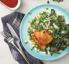 Herby rice salad with grilled chicken and kalettes Healthy Chicken Recipes, Healthy Food, Grilled Chicken Salad, Rice Salad, Coconut Rice, Fresh Coriander, Salad Ingredients, Fresh Mint, Tray Bakes