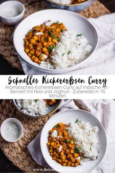 Schnelles Kichererbsen Curry Spicy-aromatic chickpea curry in Indian style. Prepared in just 15 minu Quick Easy Meals, Easy Dinner Recipes, Healthy Dinner Recipes, Vegetarian Recipes, Curry Recipes, Salad Recipes, Fish Recipes, Chicken Recipes, Chickpea Curry