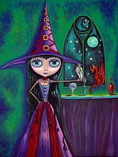 Blythe Witch With Falcon and Dragon by blondeblythe