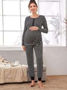 Maternity Button Front Striped Tee With Pant Pajama Set