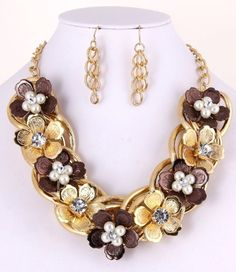 Unique Metal Flowers Pearl and Crystal Accents Necklace Set Chunky Statement #FashionJewelry