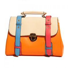 Vintage Color Block and PU Leather Design Tote Bag For Women, ORANGE in Tote Bags | DressLily.com