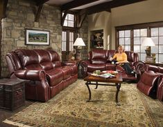 Create a cohesive look and feel in your living space by choosing this Cambridge Telluride Piece Oxblood Living Room Set Sofa, Loveseat and Recliner. 3 Piece Living Room Set, Cheap Living Room Sets, Leather Living Room Set, My Furniture, Leather Furniture, Living Room Furniture, Outdoor Furniture, Antique Furniture, Painting Furniture