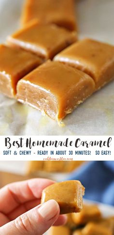 Best Homemade Caramel RECIPE is perfect for making caramel apples & all your favorite fall treats & desserts. It's incredibly easy & ready in about 30 min. It truly is THE BEST homemade caramel recipe around. via /KleinworthCo/ Homemade Caramel Recipes, Homemade Food Gifts, Homemade Candies, Homemade Caramels, Easy Chewy Caramel Recipe, Homemade Recipe, Homemade Desserts, Easy Caramel Candy Recipe, Chewy Caramels Recipe