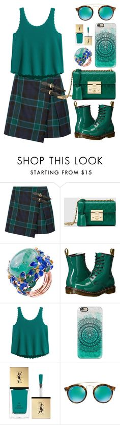 """""""EMERALDS"""" by mish-01 ❤ liked on Polyvore featuring Burberry, Gucci, Dr. Martens, Casetify, Yves Saint Laurent and Ray-Ban"""