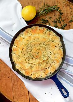 Lemon Thyme Potatoes au Gratin are filled with savory, sharp lemon flavor. This dish is also creamy and loaded with fresh garlic, thyme and Parmesan cheese making it a rich and complex side dish.   vintagekitty.com