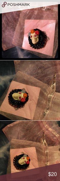 Tarina Tarantino Sugar Skull Ring Dia de los muertos sugar skull ring. Made of lucite and swarovski crystal for eyes. Stretch band. Tarina Tarantino Jewelry Rings