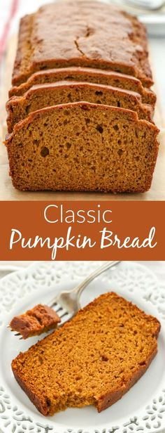 This Classic Pumpkin Bread is easy to make, perfectly spiced, and full of pumpkin flavor. One thing that you will love is how easy it is to throw this pumpkin bread together! You can enjoy this bread plain, add chocolate chips, or even nuts! Pumpkin Loaf, Pumpkin Carving, Pumpkin Dessert, Healthy Pumpkin Bread, Healthy Bread Recipes, Cheese Pumpkin, Easy Pumkin Bread, Recipe For Pumpkin Bread, Easy Canned Pumpkin Recipes