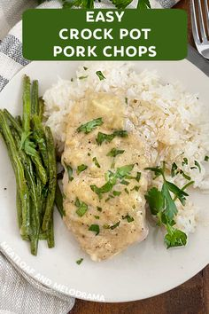 Easy Crock Pot Pork Chops are creamy, fork tender and delicious. These boneless fall apart, slow cooker pork chops are perfect for a simple weeknight dinner!