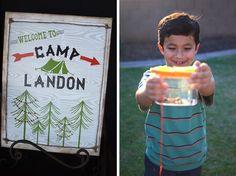 outdoor backyard camping party ideas sign