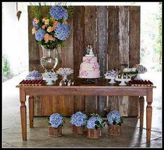 mesa rustica do bolo de casamento - Google Search