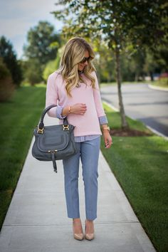 Favorites of 2014: Day Two - Mix & Match Fashion Business Outfits, Business Fashion, Business Chic, Business Attire, Work Looks, Blue Pants Outfit, Gray Pants, Pink Sweater Outfit, Blue Jeans