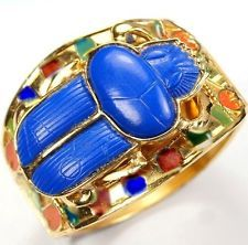 THOMAS FATTORINI Ltd. England Lapis Scarab Enamel 'Egyptian Revival' Bracelet