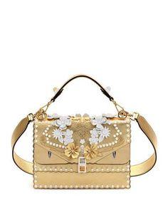 FENDI Kan I Wonder Monster Shoulder Bag, White/Gold. #fendi #bags #shoulder bags #hand bags #lining #leather #metallic #