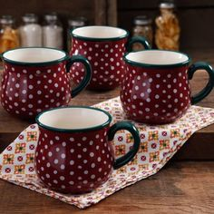The Pioneer Woman Retro Dots Claret 28-Ounce Jumbo Belly Mug Set, 4-Pack I want 2 sets of these!