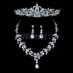 Wedding Bridal Jewelry Set Crystal Tiara Crown Headpiece Necklace Earring Silver