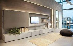 I'm pretty happy with this exact wall unit configuration. I love that the panel can slide to hide the TV Living Room Tv, Living Room Modern, Living Room Interior, Home And Living, Living Room Designs, Modern Tv Room, Interior Livingroom, Modern Interior, Home Interior Design