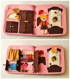 Travel fabric Dollhouse book with felt doll. It's a great present for a child! This dollhouse has interesting content and encourage the development