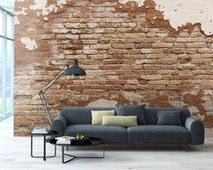 Orange bricks show through weathered plaster. This mural will make an impressive statement in any room. Distressed Brick Wall Mural comes on 6 panels and measures 8 ft. x 9 ft. Brick Wall Decor, Farmhouse Wall Decor, Farmhouse Chic, Brick Interior, Interior Design Living Room, Interior Colors, Interior Plants, Faux Brick Walls, Rustic Wood Walls