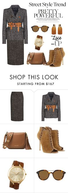 """""""Lace It Up..... Street Style Trend"""" by conch-lady ❤ liked on Polyvore featuring Tom Ford, MICHAEL Michael Kors, Michael Kors and Giorgio Armani"""