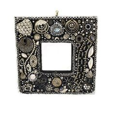 Black and Silver Decorative Wall Mirror Jeweled by Nostalgianmore