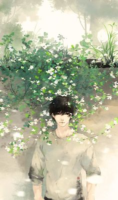 #animeboy #flowers #summer
