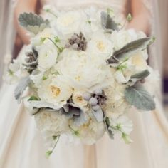 white rose, peony and lambs ear bouquet
