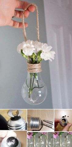 Reuse light bulbs and make a little flower vase