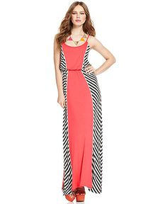 Bar III Dress, Sleeveless Scoop-Neck Colorblocked Striped Maxi - Dresses - Women - Macy's