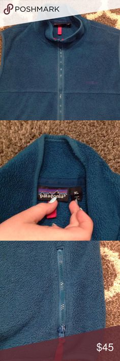 Patagonia Fleece Vest Deep Teal fleece Patagonia Vest. Hot Pink accents with Purple Logo. Good Used Condition Patagonia Jackets & Coats Vests