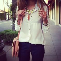 classic white blouse with gold button detail - hadn't thought of matching nails to the necklace before!