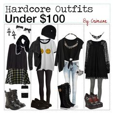 """""""hardcore outfits under $100"""" by outcast-tips ❤ liked on Polyvore featuring WearAll, H&M, Chicnova Fashion, Aéropostale, Demonia, Peach Couture, Vans, DC Shoes and Abercrombie & Fitch"""